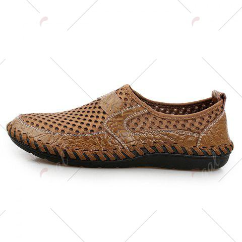 Unique Faux Leather Panels Hollow Out Slip On Sneakers - 43 BROWN Mobile