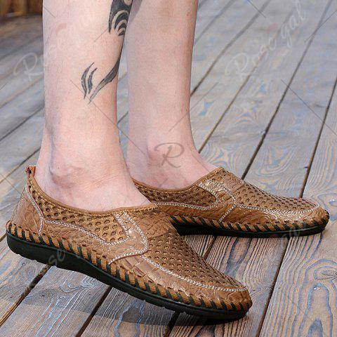 Outfits Faux Leather Panels Hollow Out Slip On Sneakers - 43 BROWN Mobile