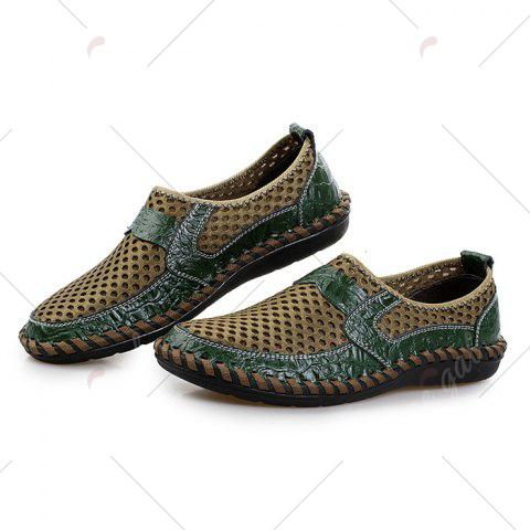Online Faux Leather Panels Hollow Out Slip On Sneakers - 43 GREEN Mobile