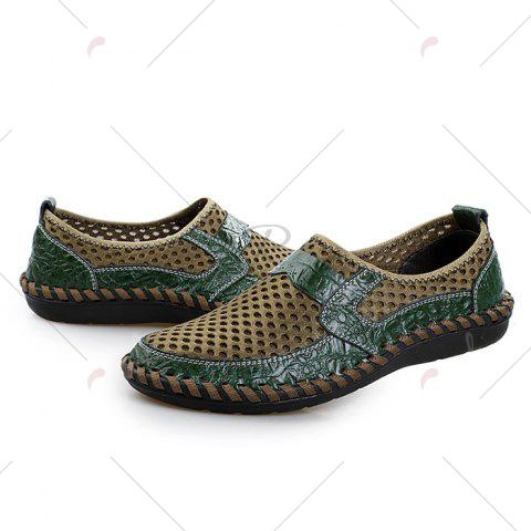 Latest Faux Leather Panels Hollow Out Slip On Sneakers - 43 GREEN Mobile