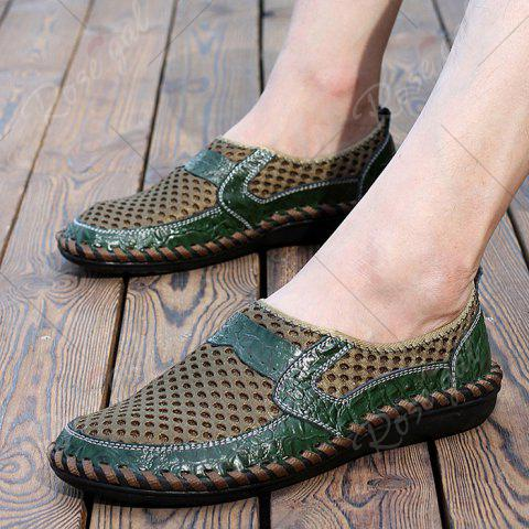 Fancy Faux Leather Panels Hollow Out Slip On Sneakers - 43 GREEN Mobile