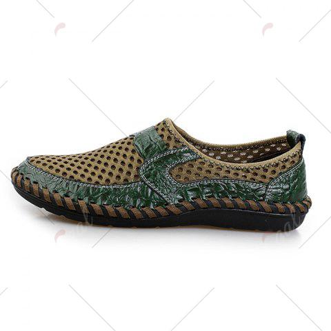 Affordable Faux Leather Panels Hollow Out Slip On Sneakers - 43 GREEN Mobile