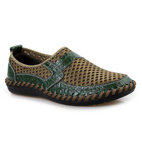 Faux Leather Panels Hollow Out Slip On Sneakers - Green - 40