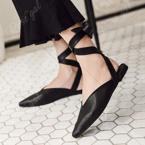 Discount Point Toe Slingback Lace Up Flats - 37 BLACK Mobile