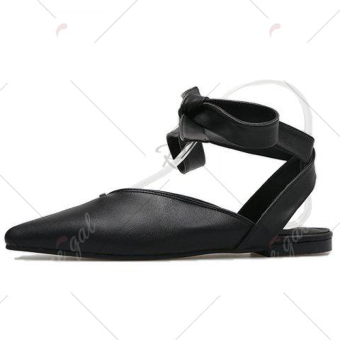 Store Point Toe Slingback Lace Up Flats - 37 BLACK Mobile