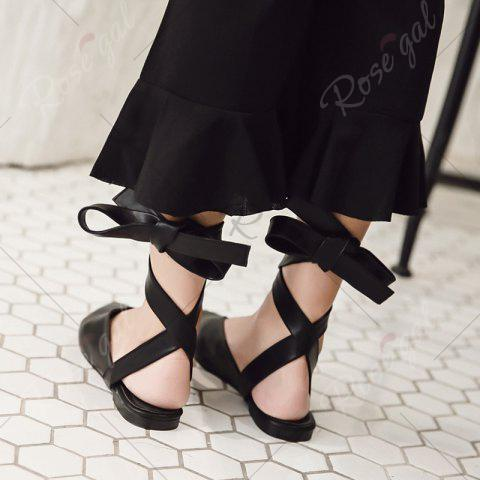 Affordable Point Toe Slingback Lace Up Flats - 37 BLACK Mobile