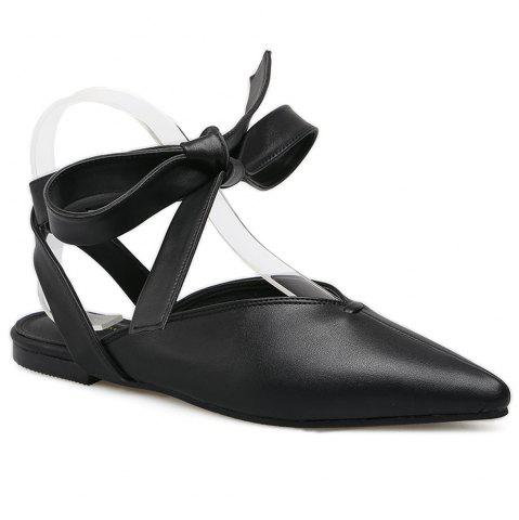 Fancy Point Toe Slingback Lace Up Flats - 39 BLACK Mobile