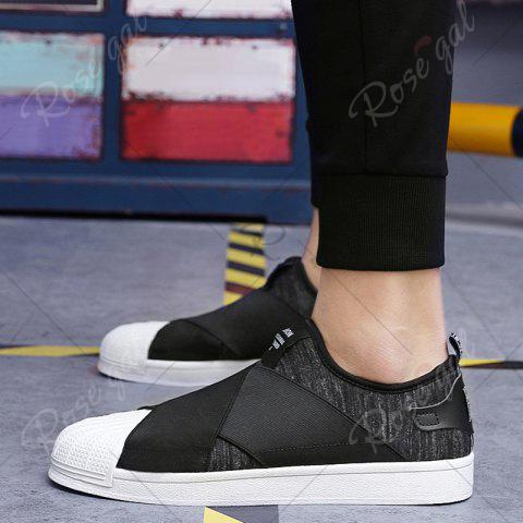 Best Elastic Band Stretch Fabric Casual Shoes - 40 BLACK Mobile