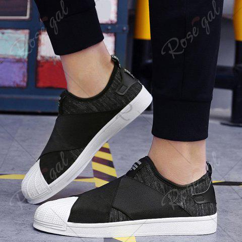 Affordable Elastic Band Stretch Fabric Casual Shoes - 40 BLACK Mobile