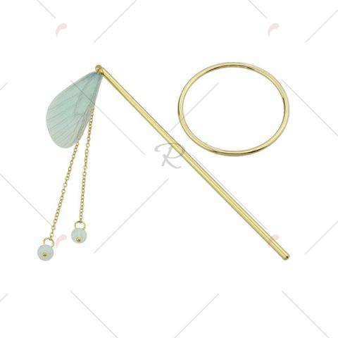 Shops Alloy Fringed Chain Circle Beads Hair Stick - GREEN  Mobile