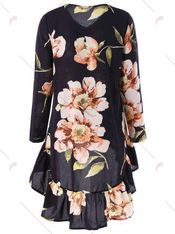 Hot Flounce High Low Floral Print Tunic Blouse - M FLORAL Mobile