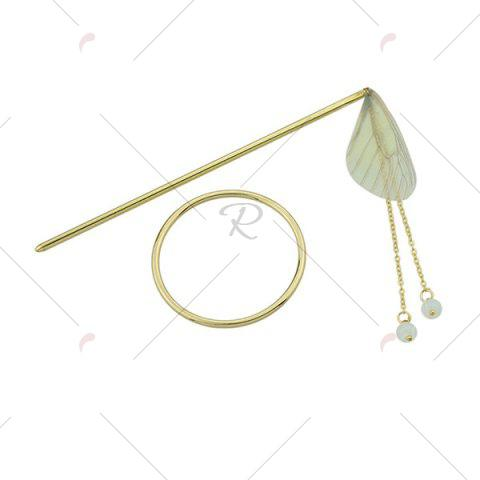 Cheap Alloy Fringed Chain Circle Beads Hair Stick - YELLOW  Mobile