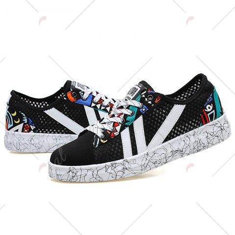 Latest Breathable Graffitti Mesh Sneakers - 43 BLUE AND BLACK Mobile