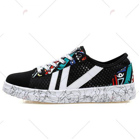 Shop Breathable Graffitti Mesh Sneakers - 43 BLUE AND BLACK Mobile