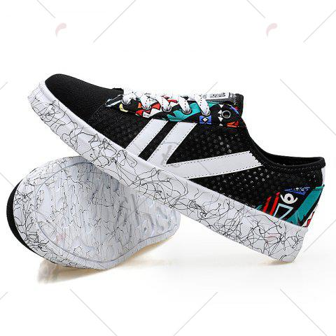Fashion Breathable Graffitti Mesh Sneakers - 43 BLUE AND BLACK Mobile