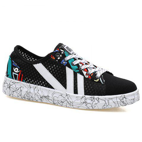 Breathable Graffitti Mesh Sneakers - Blue And Black - 40
