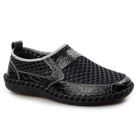 Faux Leather Panels Hollow Out Slip On Sneakers Noir 40