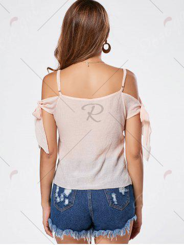 Affordable V Neck Self Tie Spaghetti Strap T-shirt - S PINK Mobile
