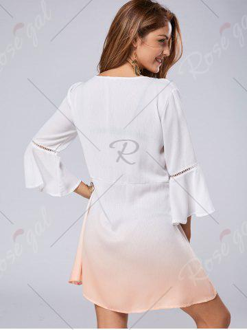 Cheap Low Cut Flare Sleeve Ombre Print Dress - L WHITE Mobile