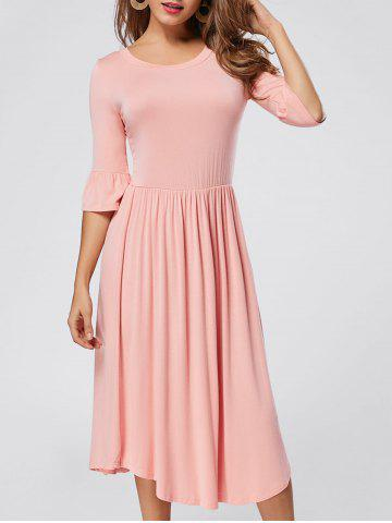Trendy Ruffle Sleeve Jersey Midi Dress - S PINK Mobile