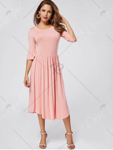 Best Ruffle Sleeve Jersey Midi Dress - S PINK Mobile
