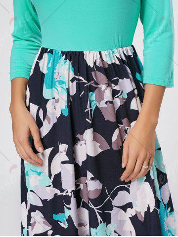 Affordable Floral Scoop Neck Maxi Dress - S GREEN Mobile