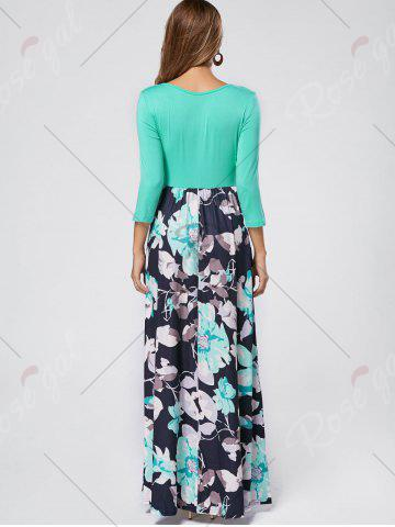 Discount Floral Scoop Neck Maxi Dress - S GREEN Mobile