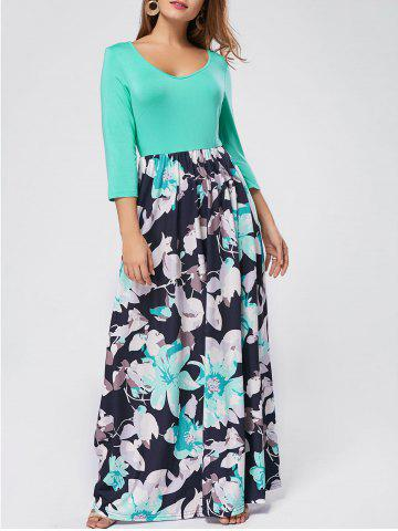 Trendy Floral Scoop Neck Maxi Dress - S GREEN Mobile