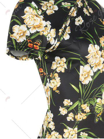 Best Vintage Floral Cheongsam Short Sleeve Sheath Dress - M BLACK Mobile