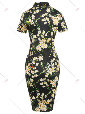 Fancy Vintage Floral Cheongsam Short Sleeve Sheath Dress - M BLACK Mobile
