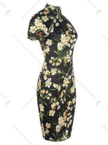 Outfits Vintage Floral Cheongsam Short Sleeve Sheath Dress - M BLACK Mobile