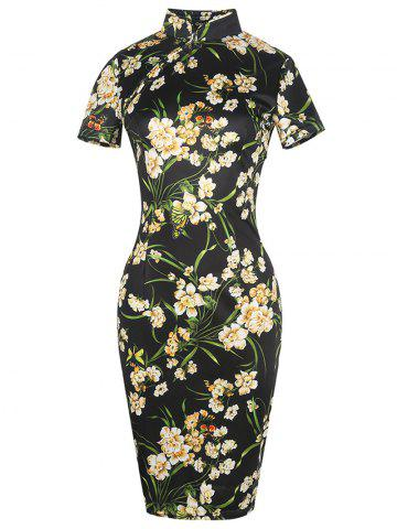 Discount Vintage Floral Cheongsam Short Sleeve Sheath Dress - M BLACK Mobile