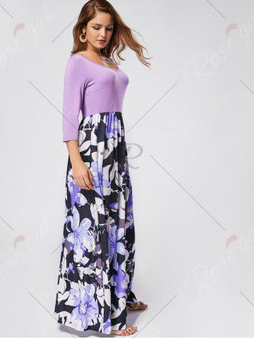 Outfit Floral Scoop Neck Maxi Dress - S PURPLE Mobile
