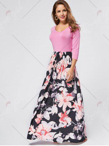 Trendy Floral Scoop Neck Maxi Dress - S PINK Mobile