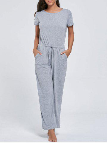 Fancy Casual Pocket Short Sleeve Drawstring Jumpsuit - S GRAY Mobile