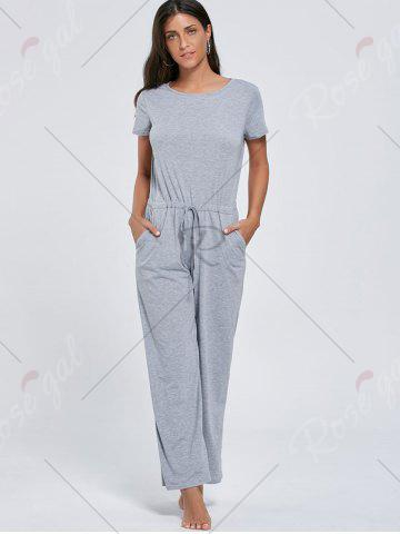 Shop Casual Pocket Short Sleeve Drawstring Jumpsuit - M GRAY Mobile