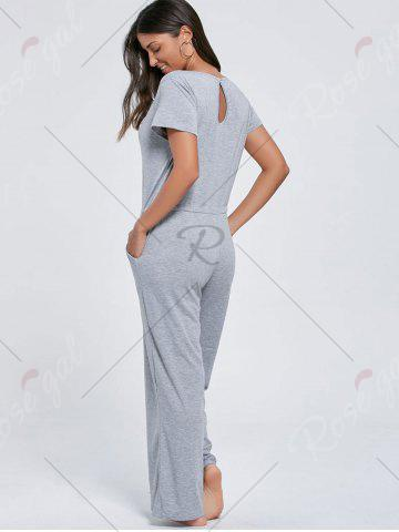 Discount Casual Pocket Short Sleeve Drawstring Jumpsuit - M GRAY Mobile