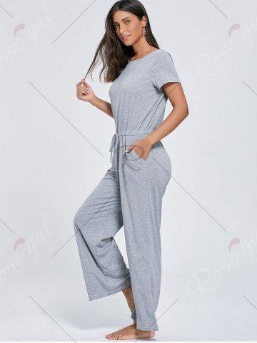Discount Casual Pocket Short Sleeve Drawstring Jumpsuit - L GRAY Mobile