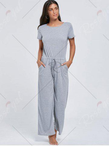 Discount Casual Pocket Short Sleeve Drawstring Jumpsuit - XL GRAY Mobile