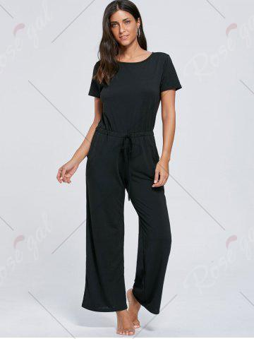 Outfits Casual Pocket Short Sleeve Drawstring Jumpsuit - XL BLACK Mobile