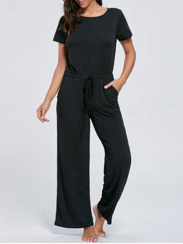 Buy Casual Pocket Short Sleeve Drawstring Jumpsuit - S BLACK Mobile