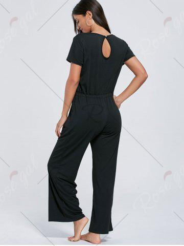Outfits Casual Pocket Short Sleeve Drawstring Jumpsuit - S BLACK Mobile