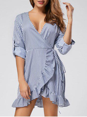 Long Sleeve Ruffle Stripe Mini Wrap Dress - Stripe - S