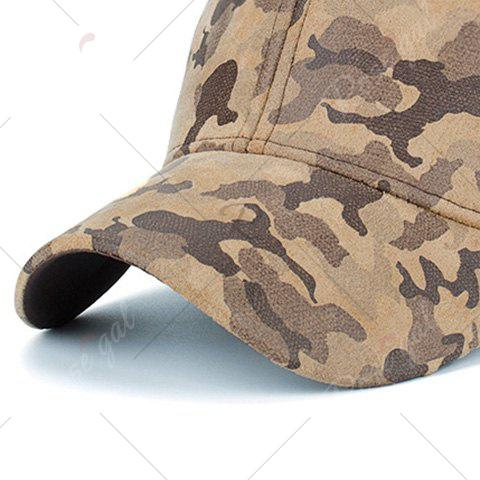 New Camouflage Pattern Faux Suede Baseball Hat - KHAKI  Mobile
