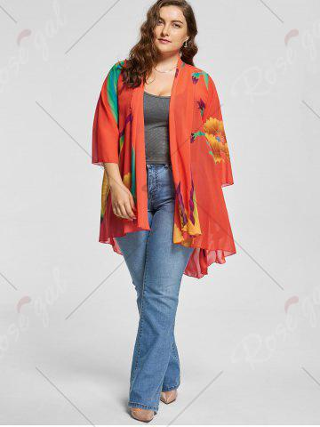 Shops Butterfly Printed Plus Size Kimono Cover Up - L MULTI Mobile