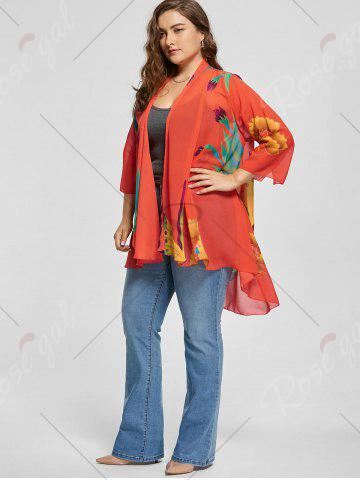 Outfit Butterfly Printed Plus Size Kimono Cover Up - L MULTI Mobile