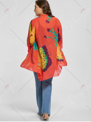 Chic Butterfly Printed Plus Size Kimono Cover Up - L MULTI Mobile