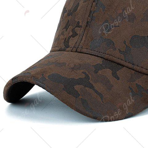 Outfit Camouflage Pattern Faux Suede Baseball Hat - COFFEE  Mobile