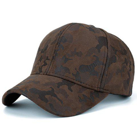 Shops Camouflage Pattern Faux Suede Baseball Hat - COFFEE  Mobile