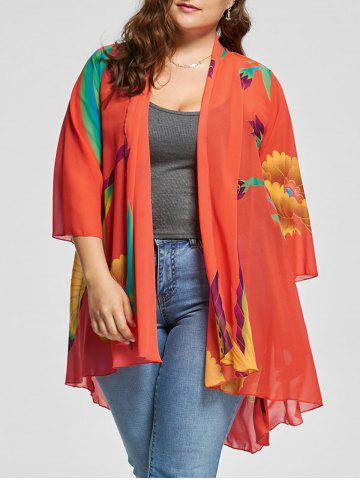 Butterfly Printed Plus Size Kimono Cover Up - Multi - Xl